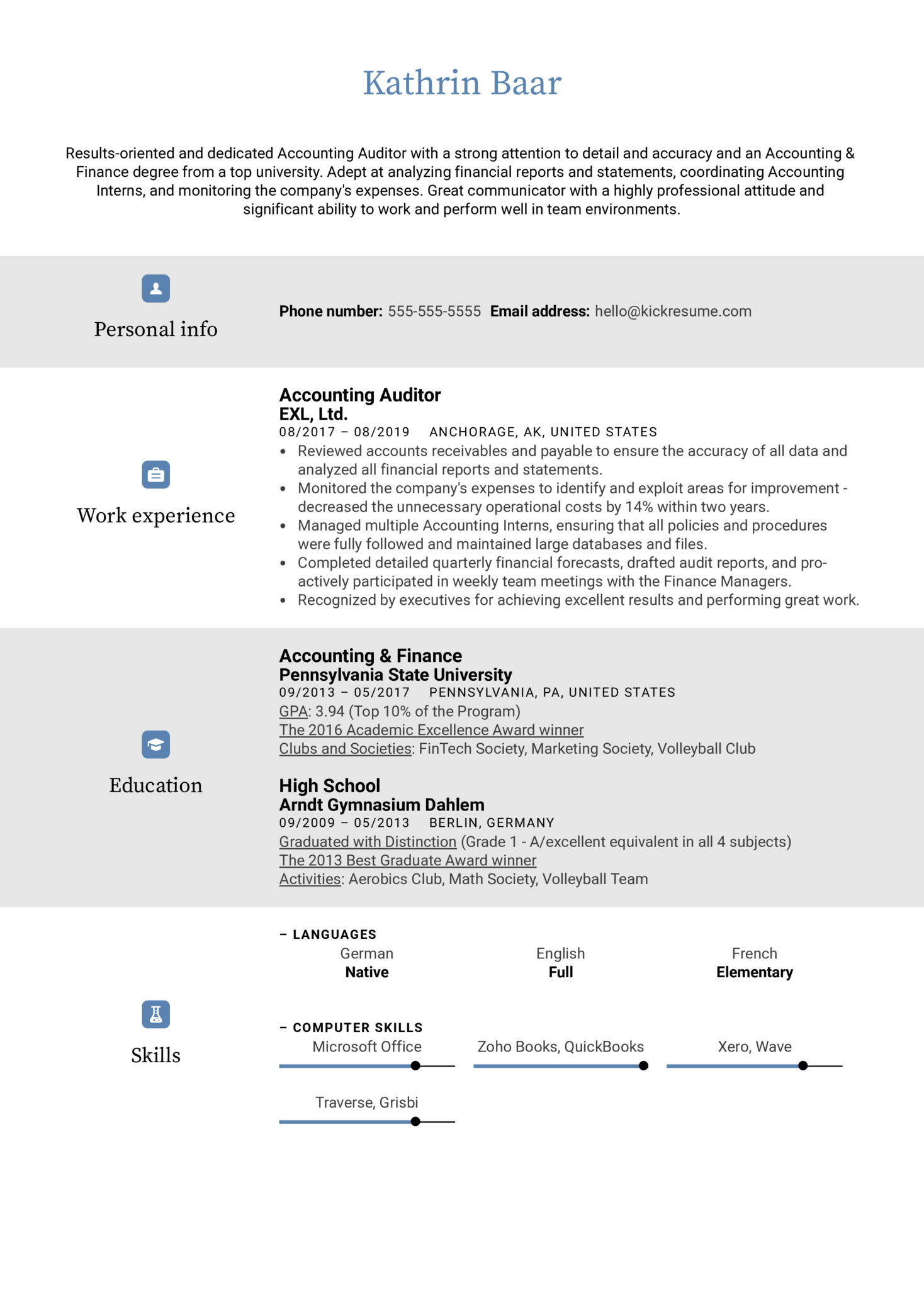 Accounting Auditor Resume Sample (parte 1)