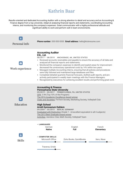 Accounting Auditor Resume Sample