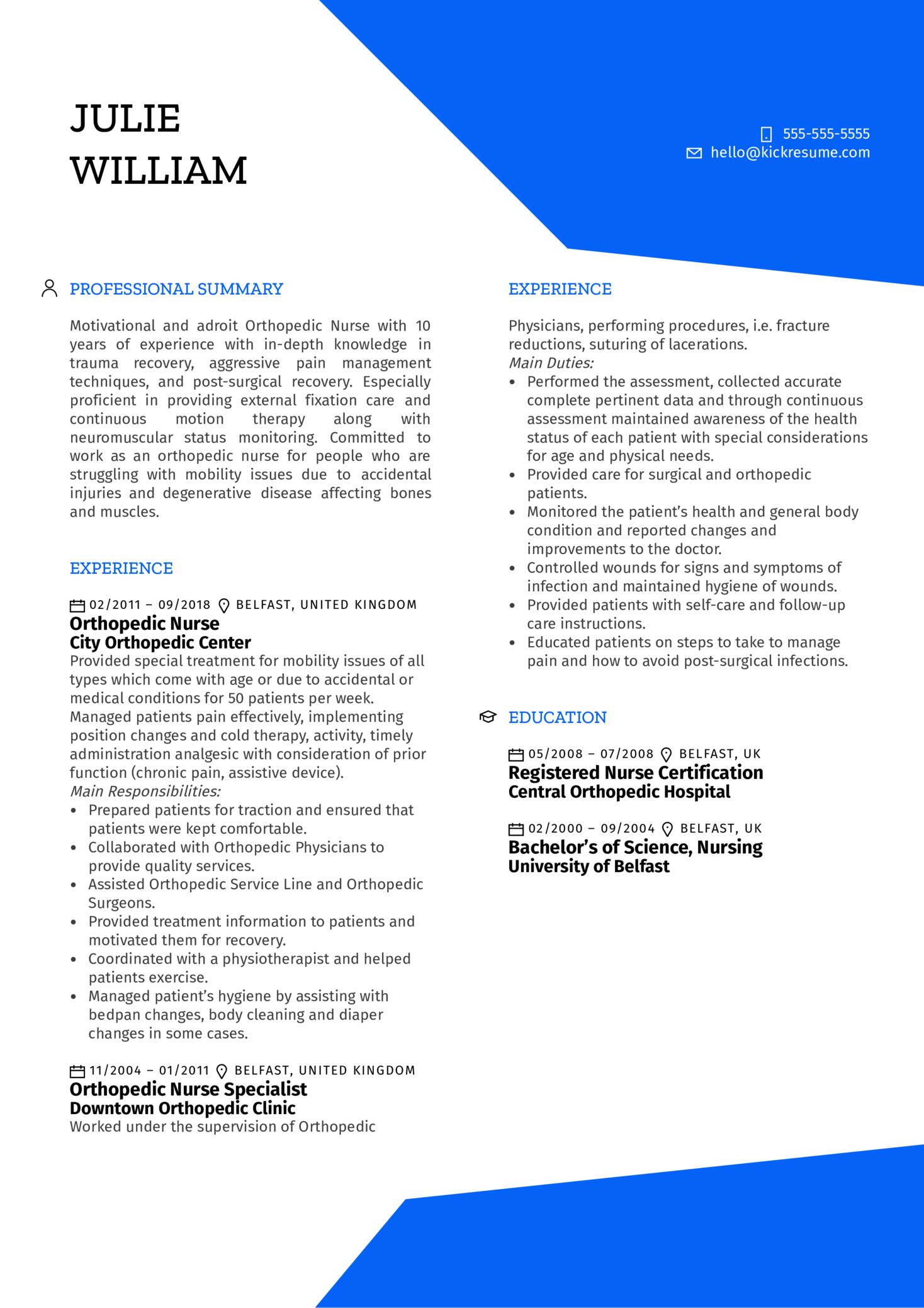 Orthopedic Nurse Resume Example (časť 1)