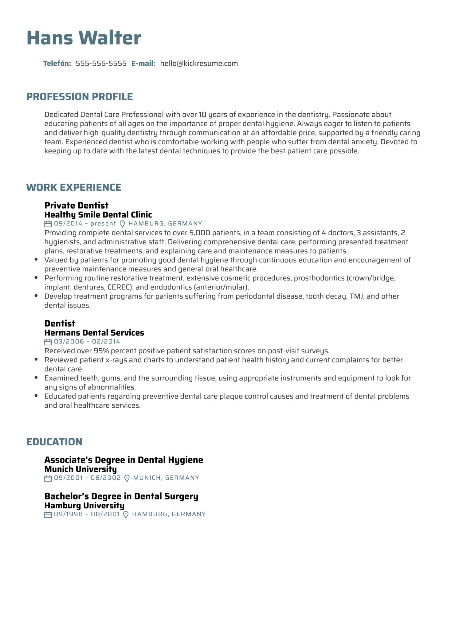 Resume Examples by Real People: Dentist Resume Example