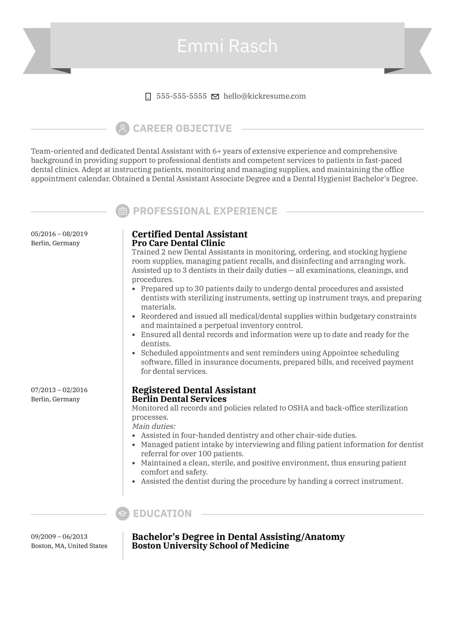 Dental Assistant Resume Sample