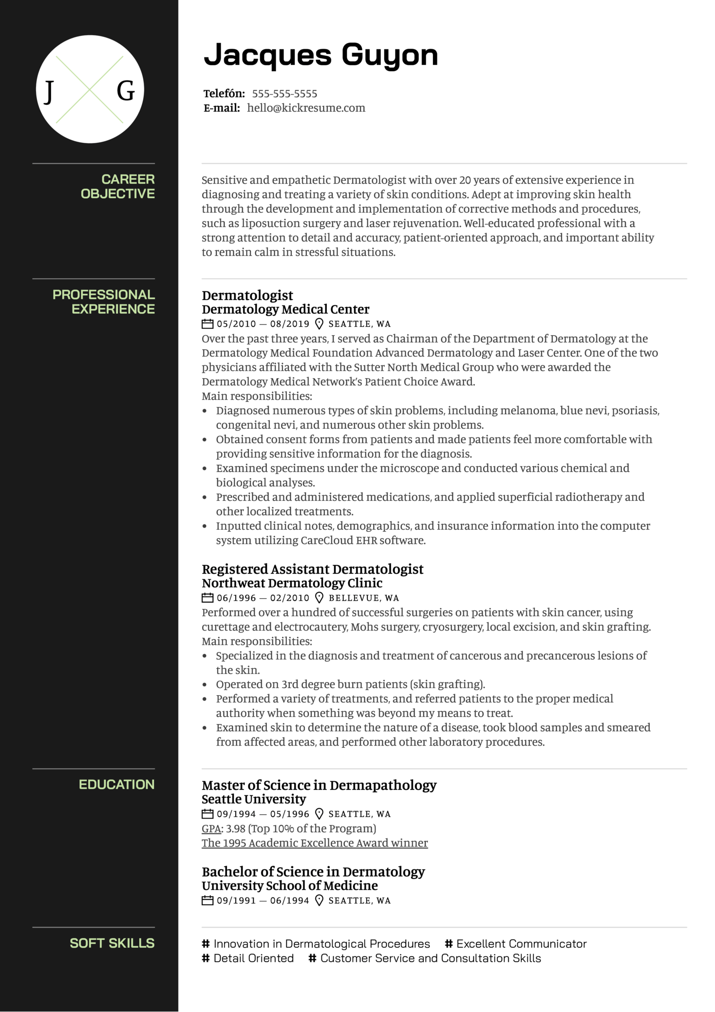 Dermatologist Resume Sample (parte 1)