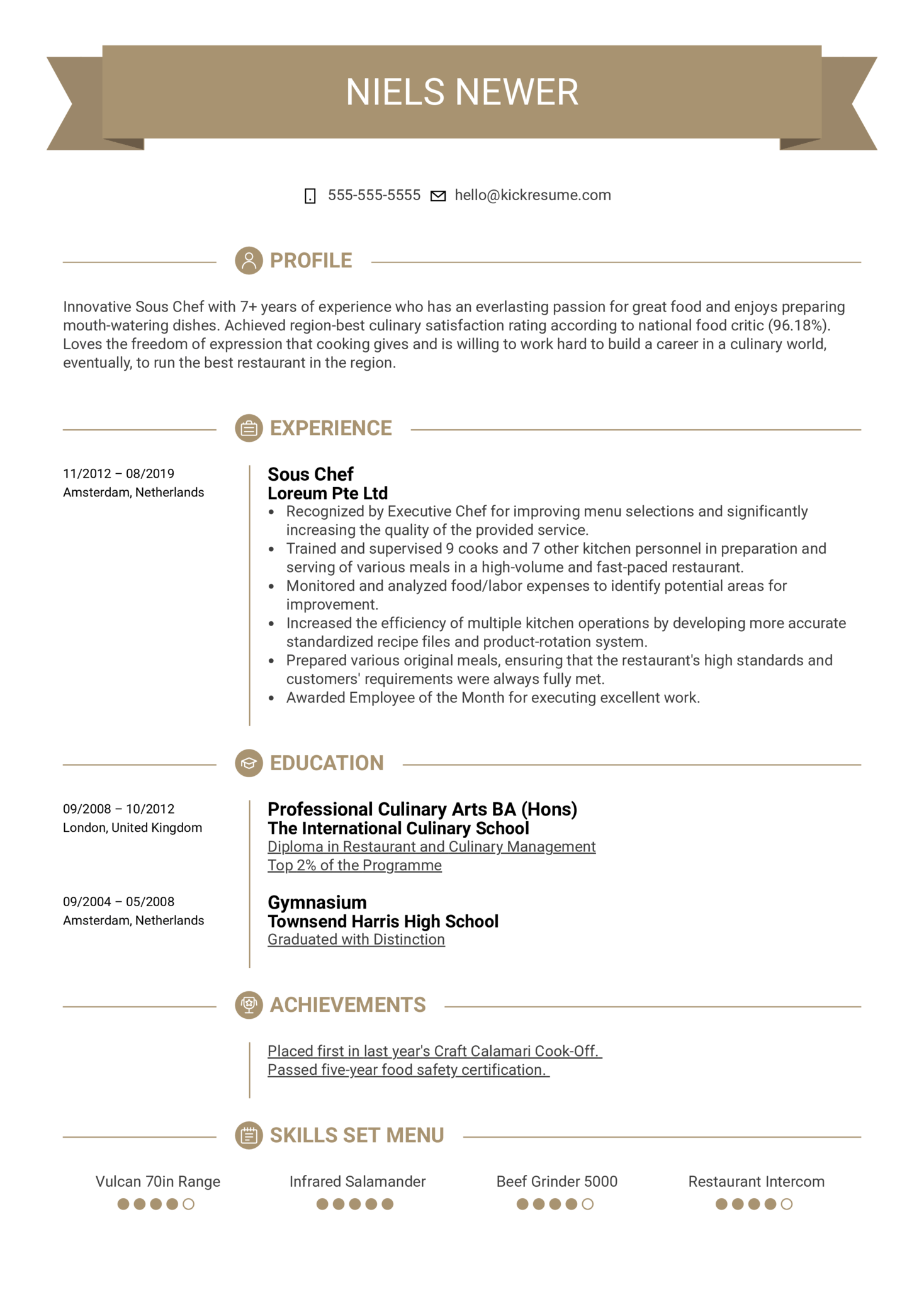 Sous Chef Resume Template