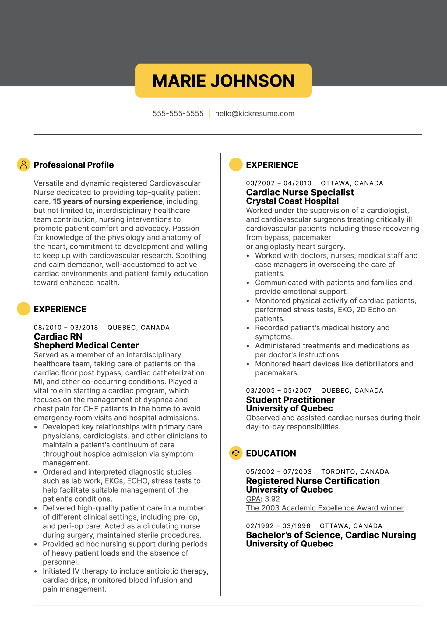 Cardiac Nurse Resume Sample (Part 1)