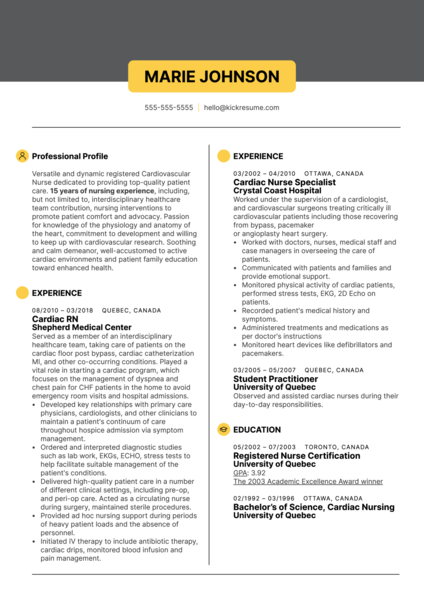 Cardiac Nurse Resume Sample