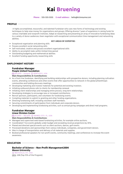 Fundraiser Manager Resume Sample