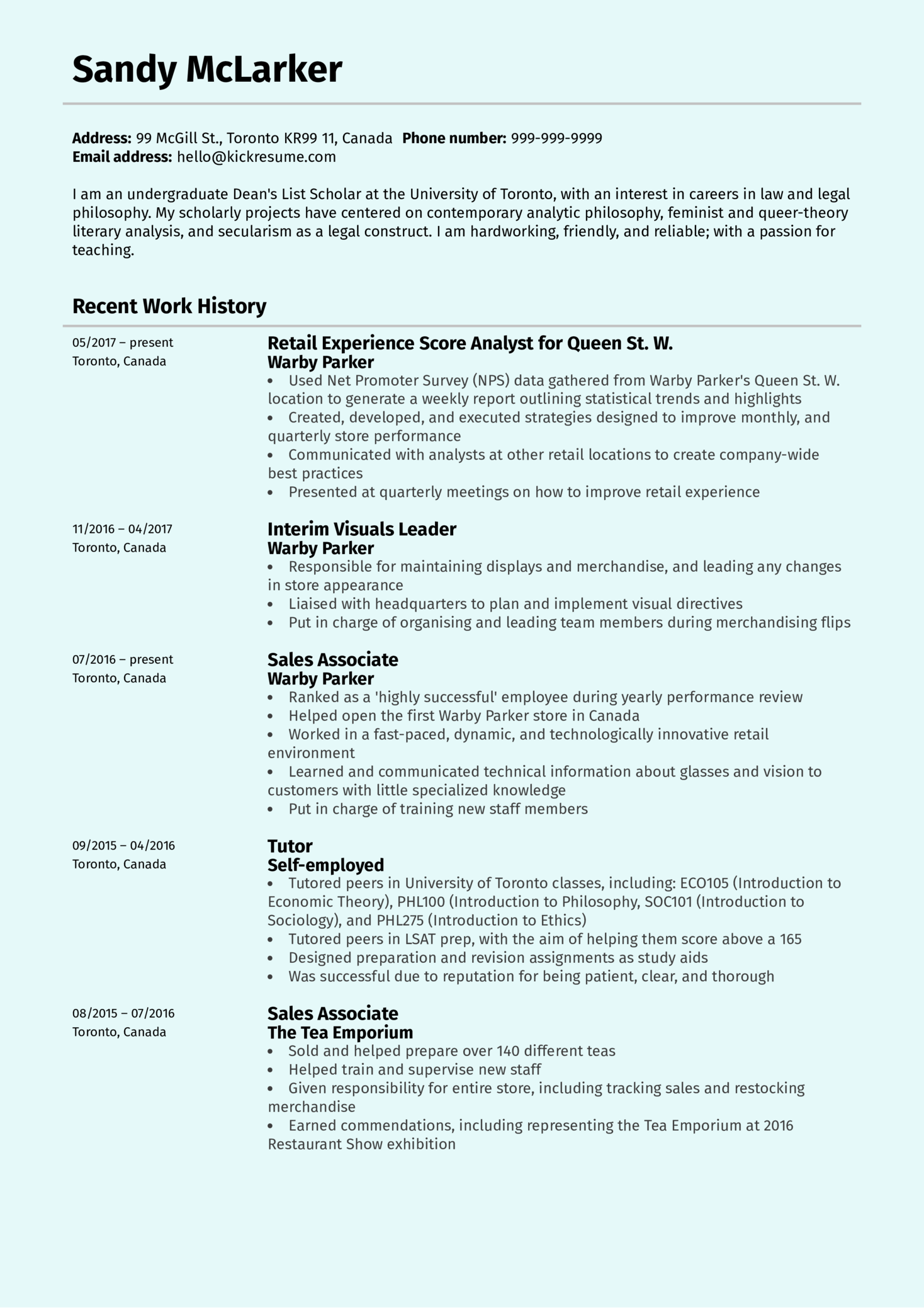 resume examples by real people  retail experience analyst at warby parker