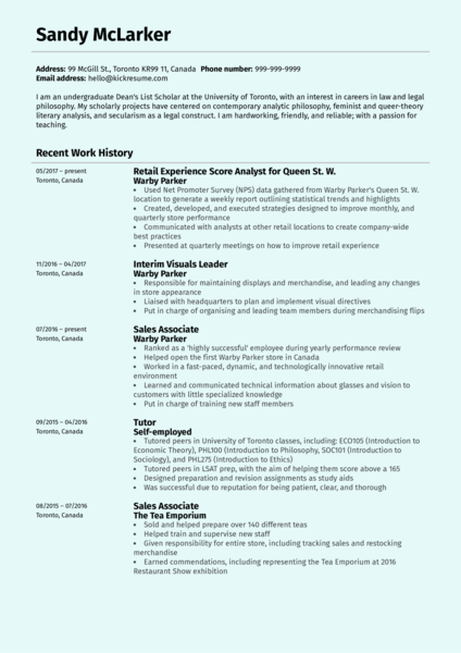 Retail Experience Analyst at Warby Parker Resume Sample