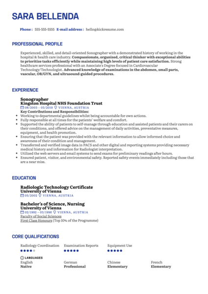Sonographer Resume Example