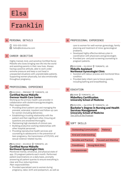 Certified Nurse Midwife Resume Example