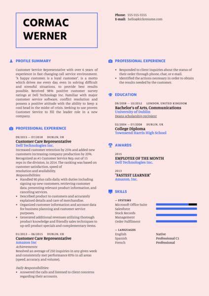 Customer Care Representative Resume Template
