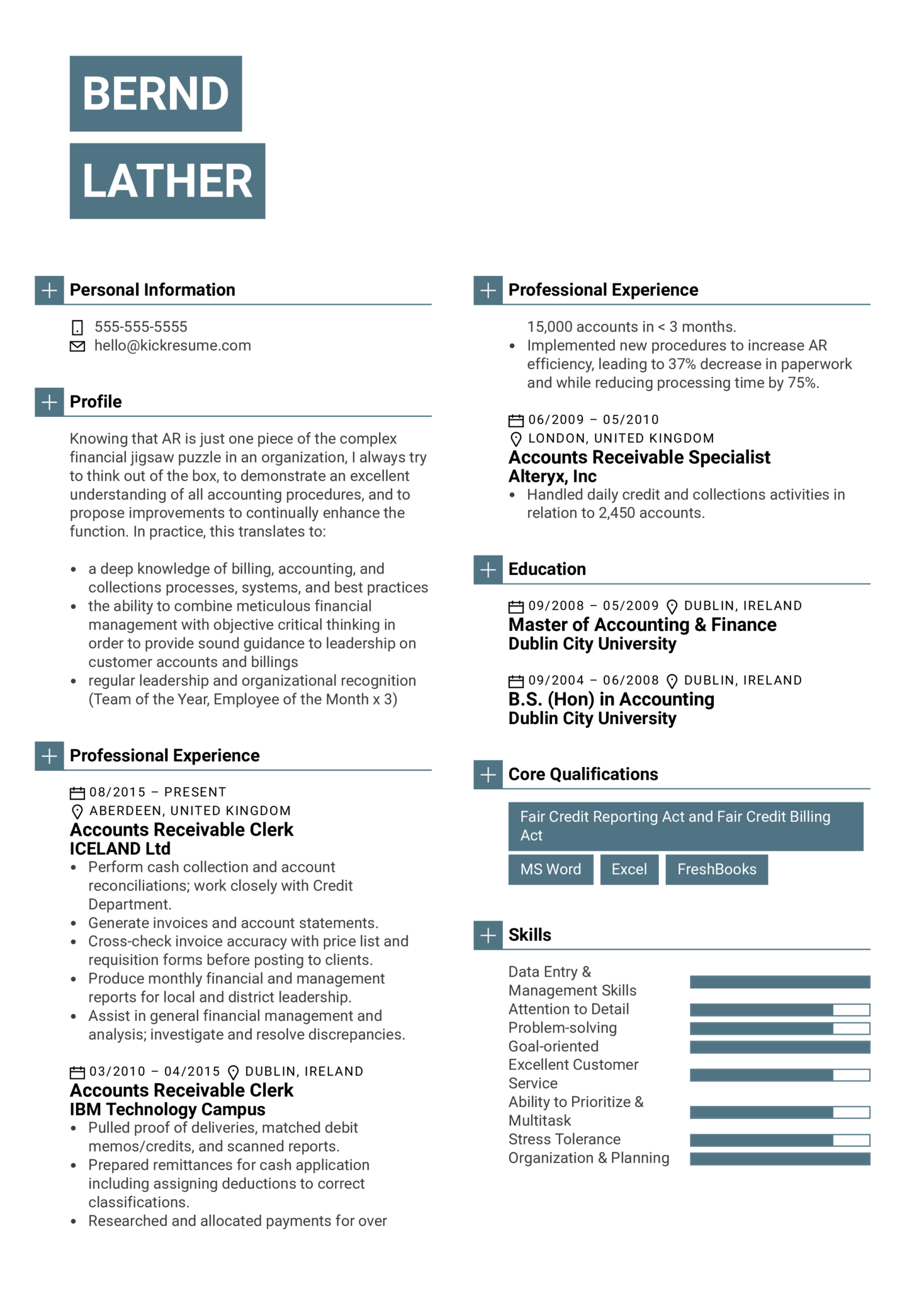resume examples by real people  accounts receivable clerk