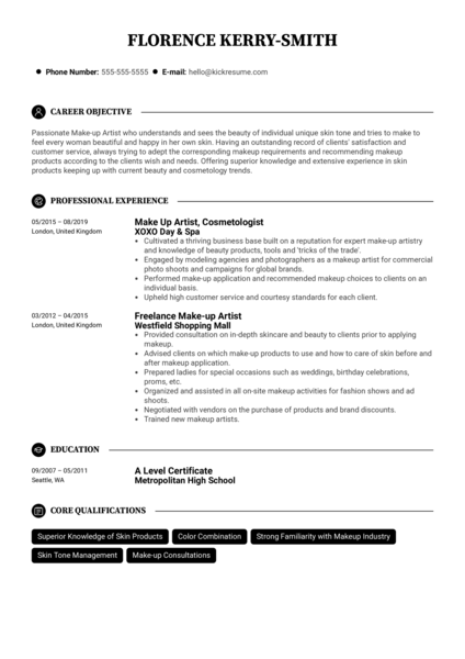Make-up Artist Resume Example