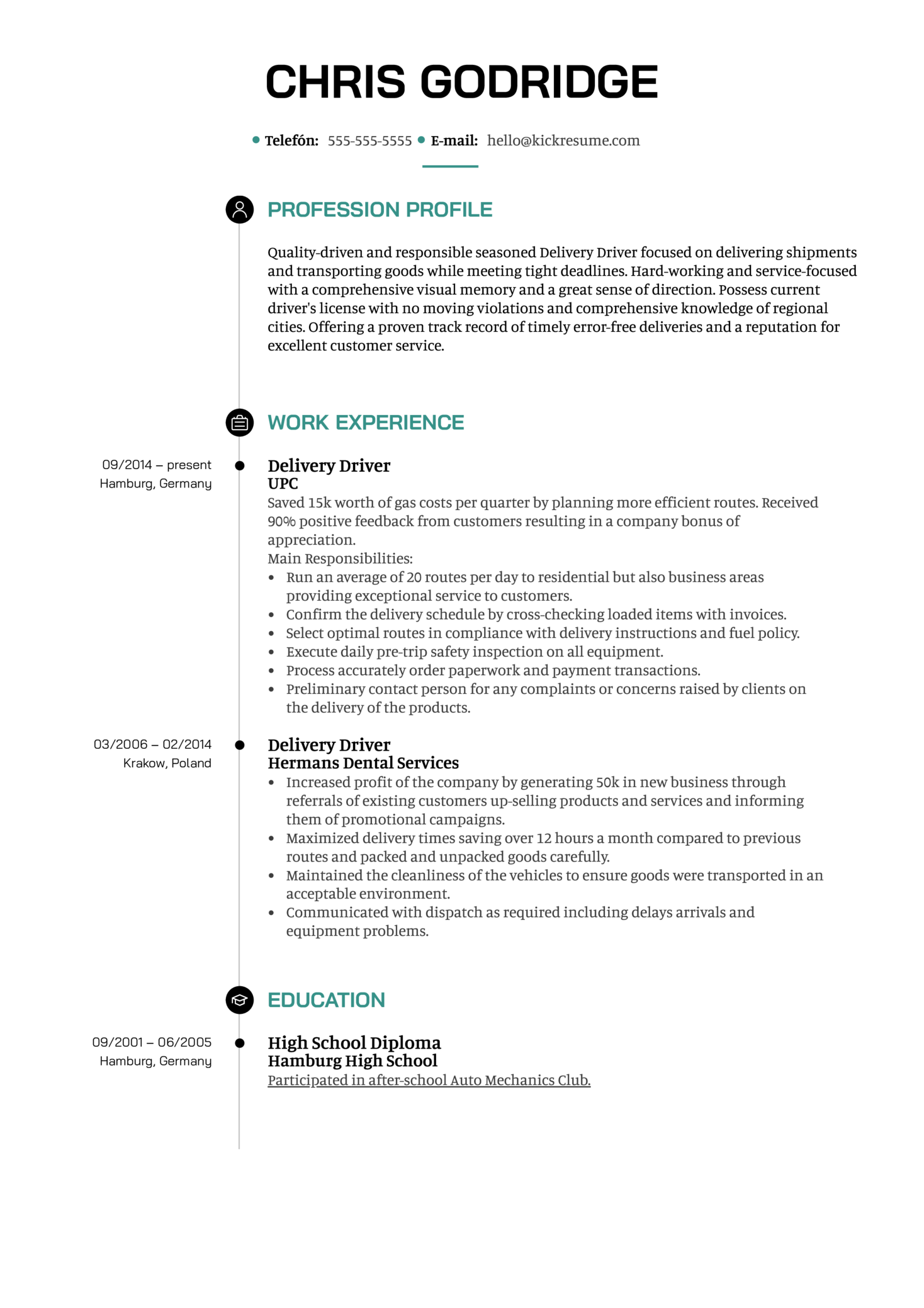 Resume Examples By Real People Delivery Driver Resume