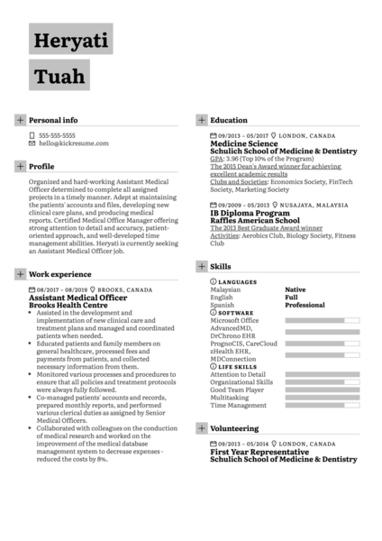 Medical Officer Resume Example