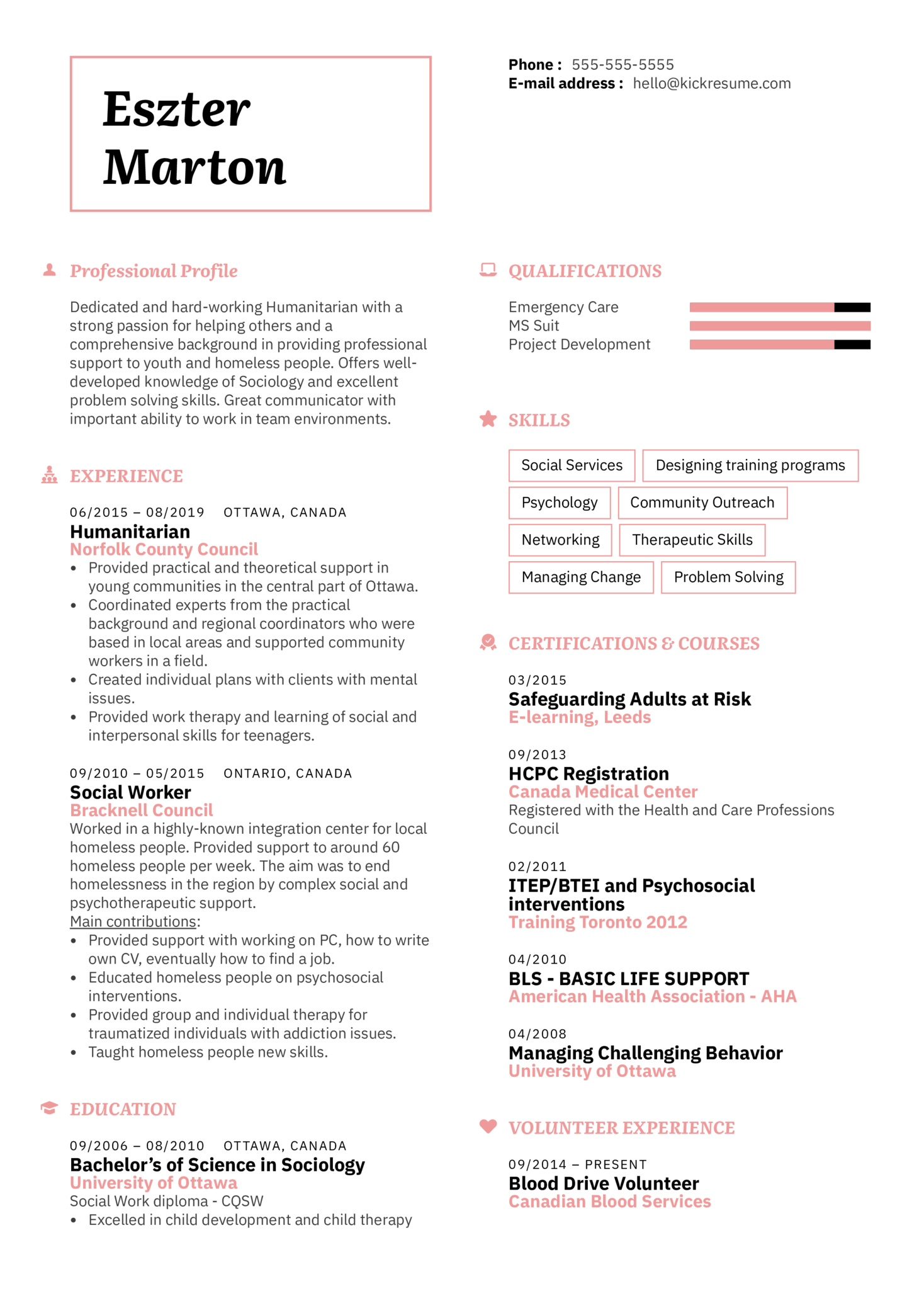Humanitarian Resume Template