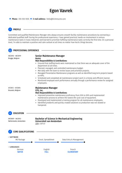 Senior Maintenance Manager Resume Sample