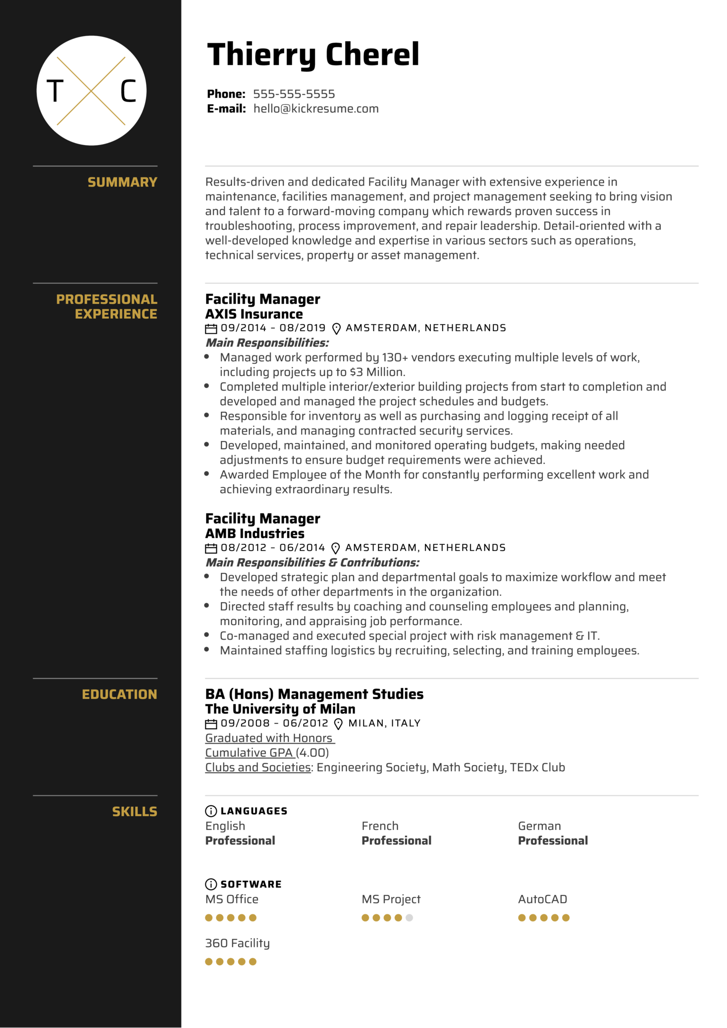 Facility Manager Resume Resume Sample