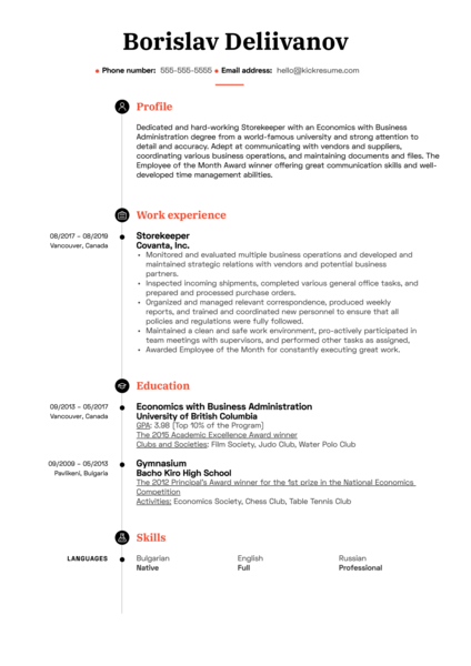 Storekeeper Resume Sample