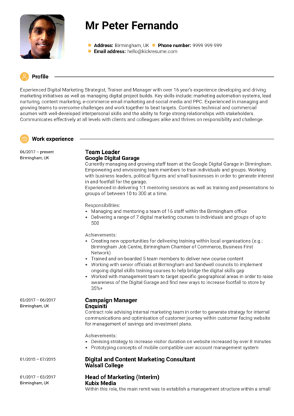 google team leader resume sample