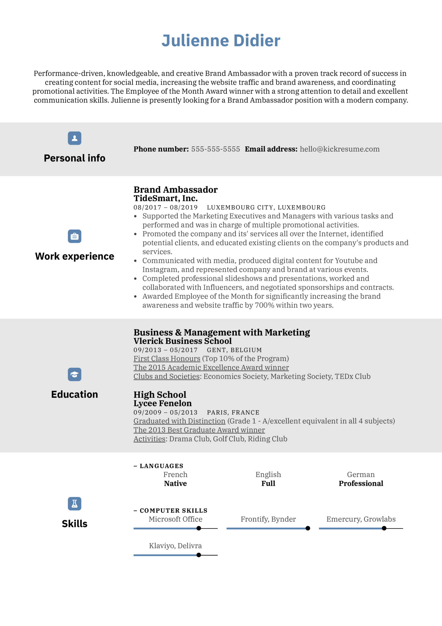 Brand Ambassador Resume Example (Teil 1)