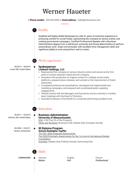 Spokesperson Resume Sample