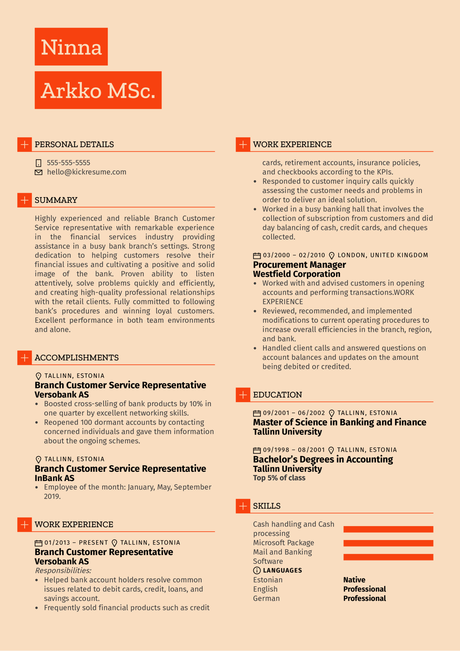 Branch Customer Service Representative Resume Example (Part 1)