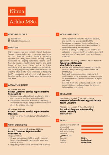 Branch Customer Service Representative Resume Example