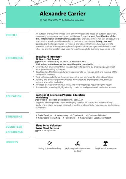 Snowboard Instructor Resume Example