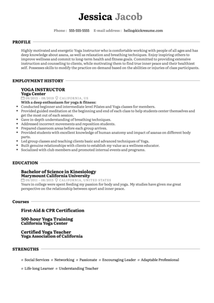 Yoga Instructor Resume Example