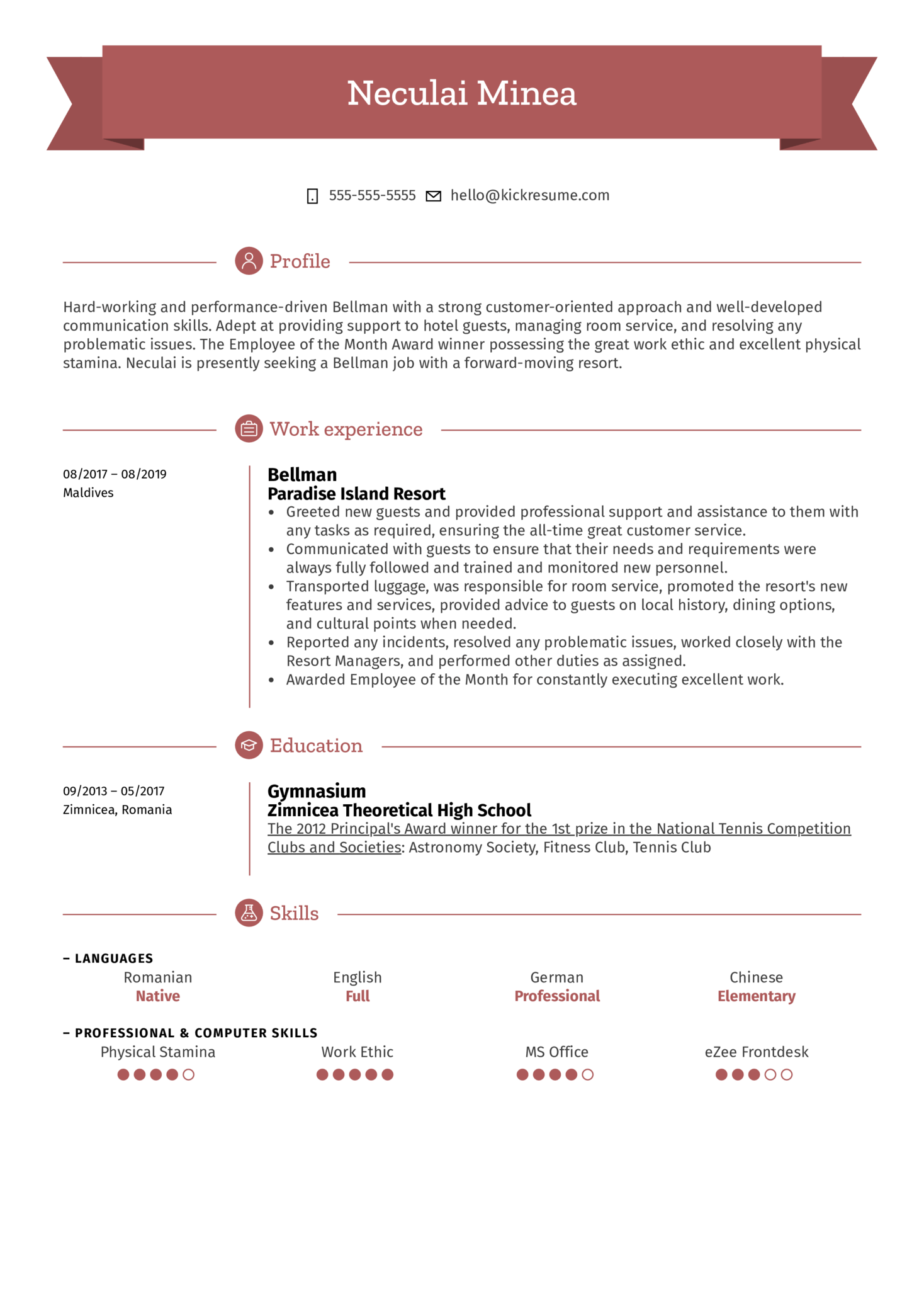Bellman Resume Sample