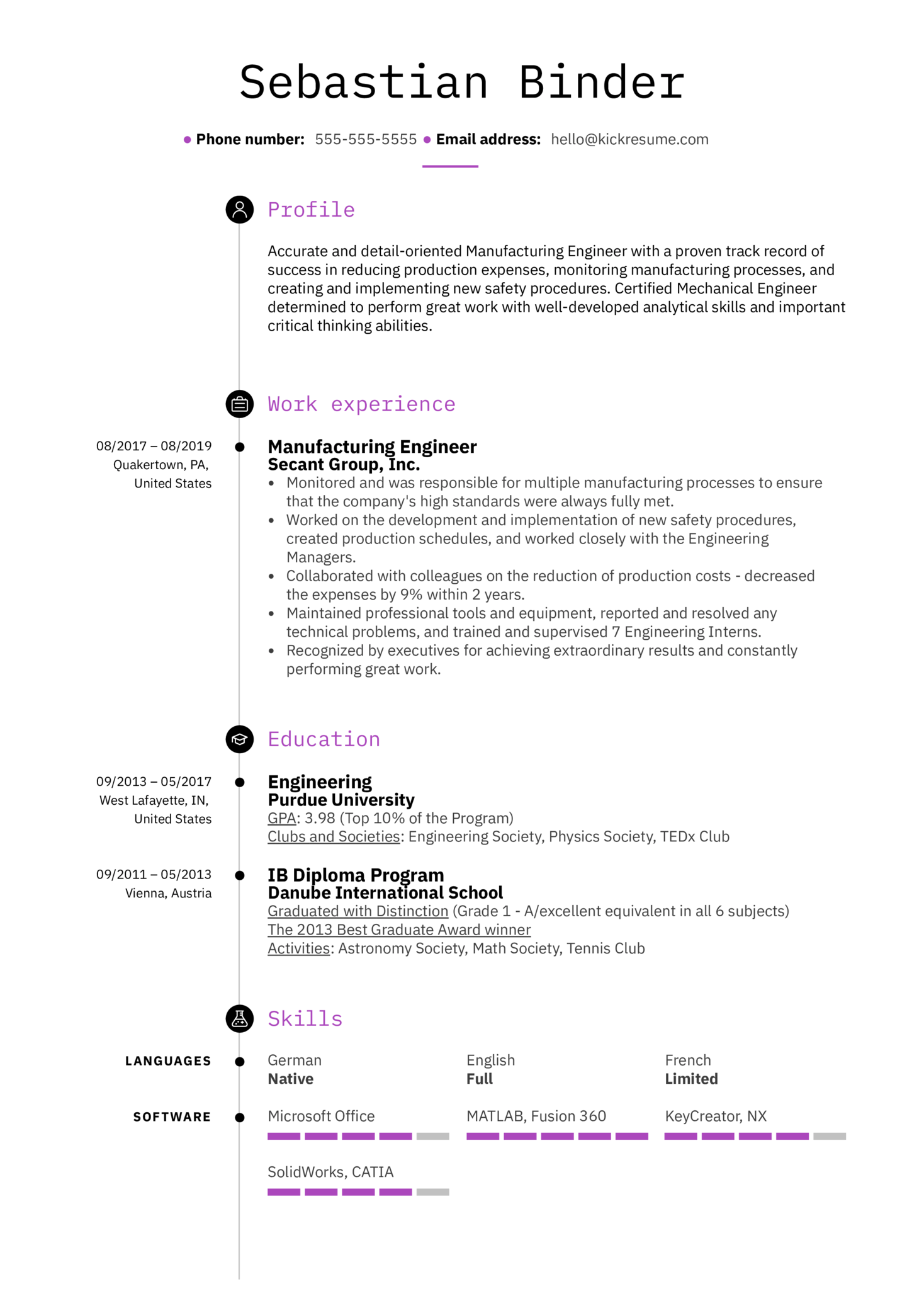 resume examples by real people  manufacturing engineer resume example