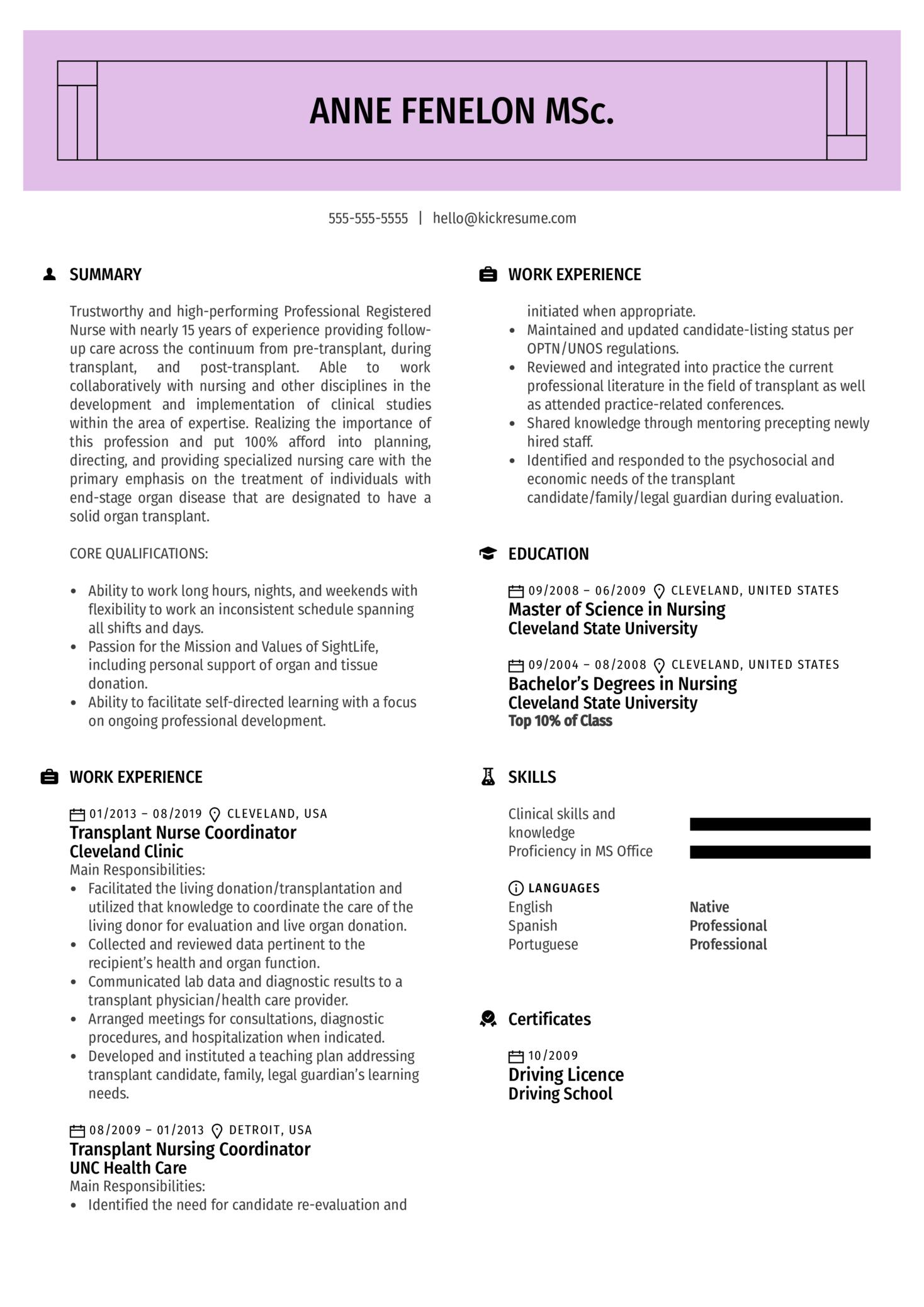 Transplant Nurse Coordinator Resume Example