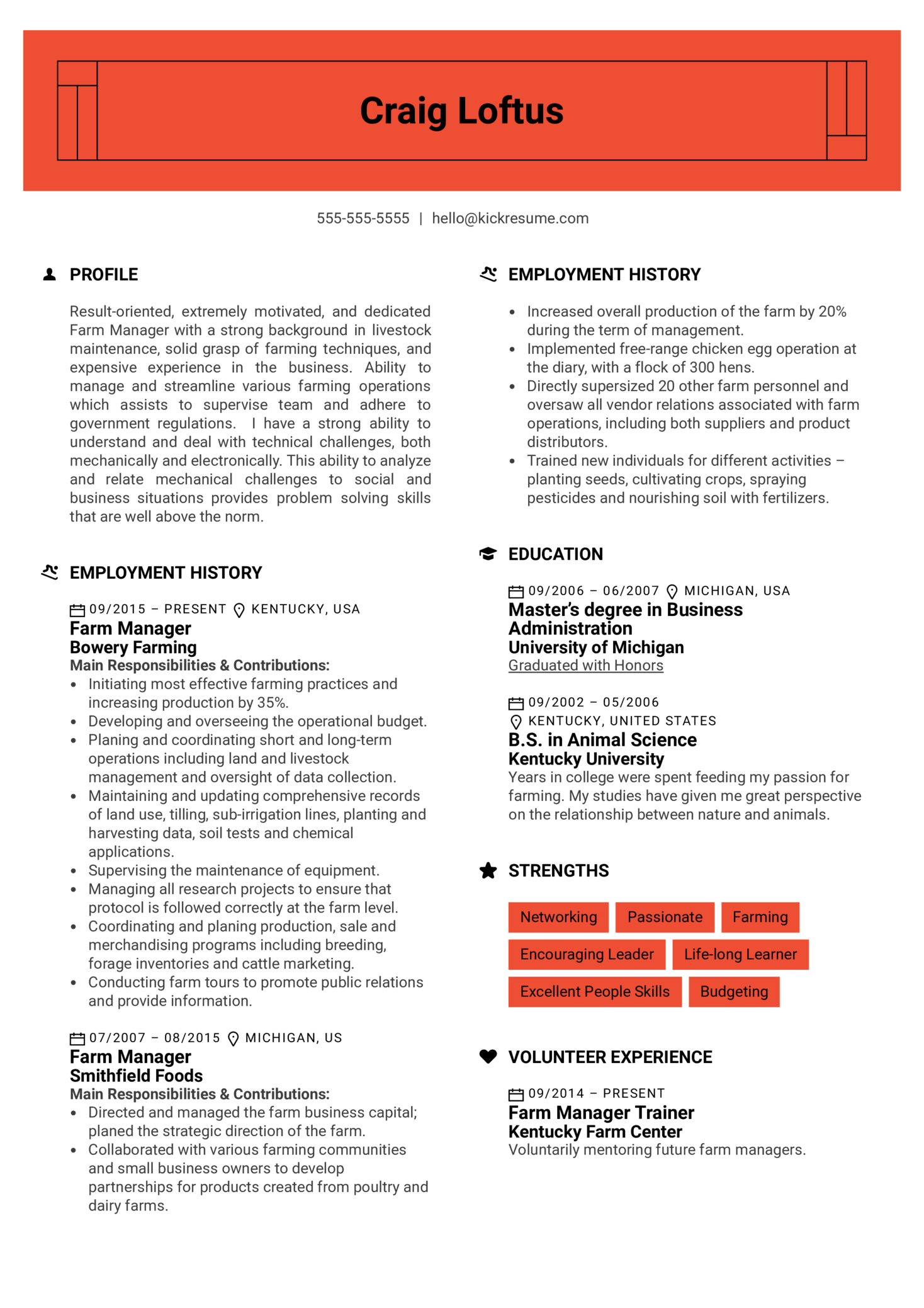 Farm Manager Resume Example