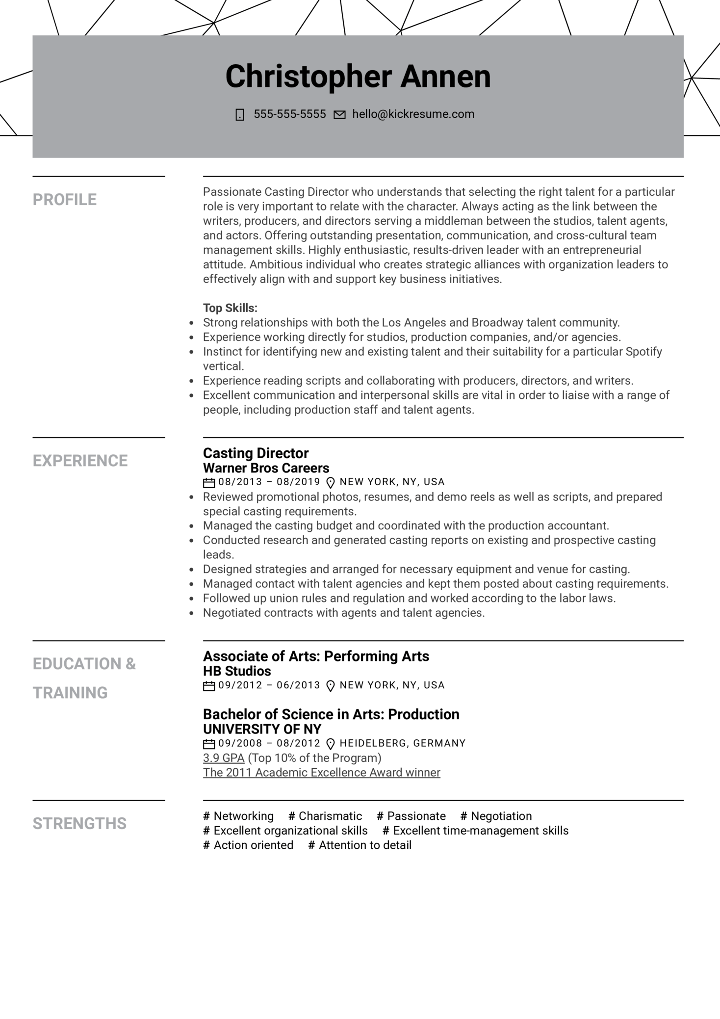 Resume Examples By Real People Casting Director Resume