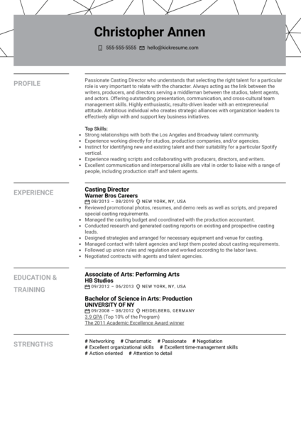 Casting Director Resume Sample