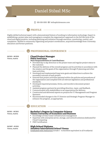 Cloud Project Manager Resume Sample