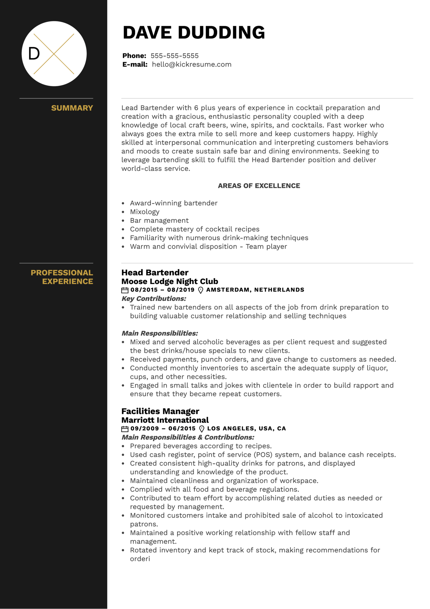 Head Bartender Resume Example