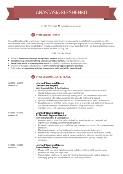 Licensed Vocational Nurse Resume Template