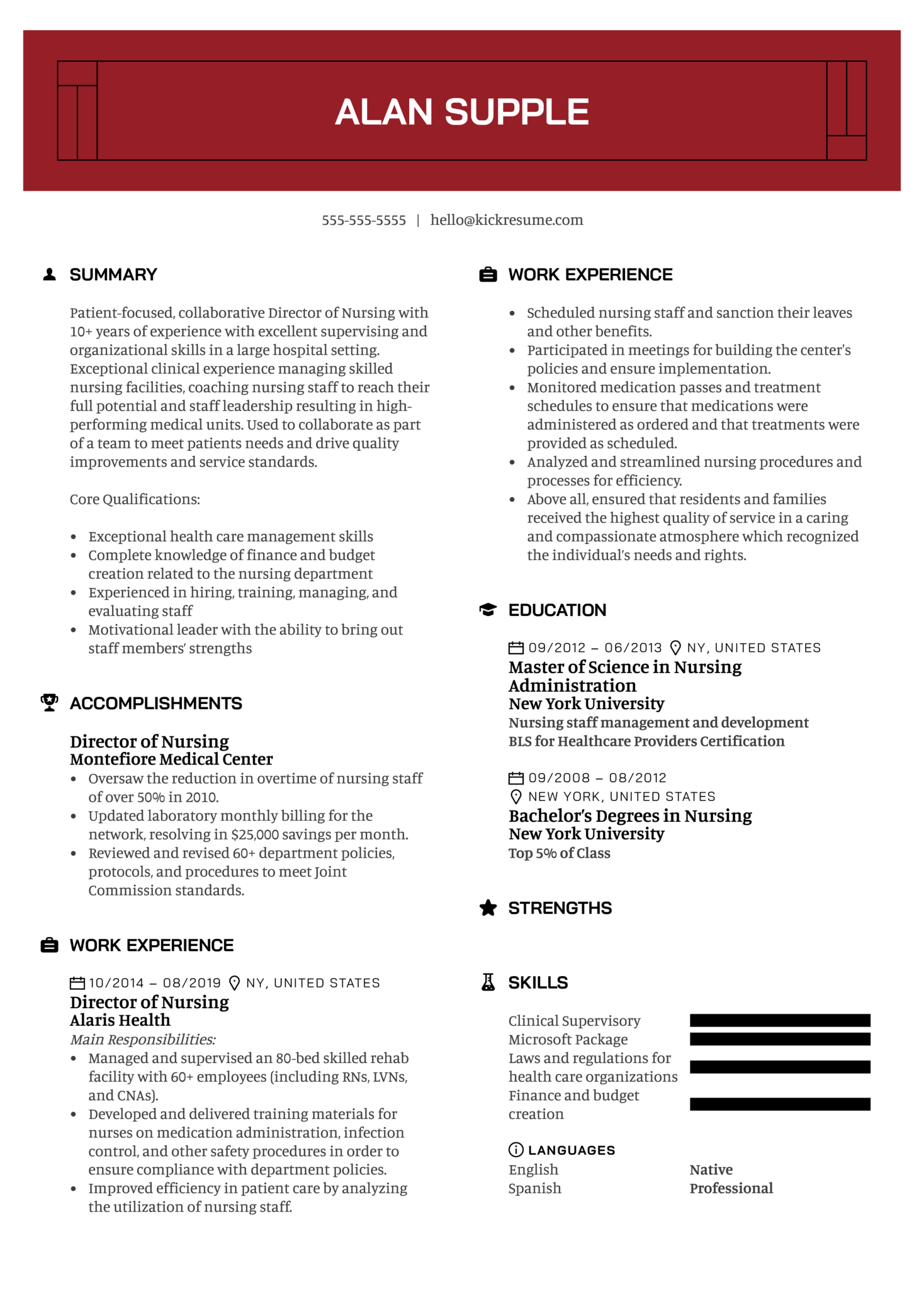 Director of Nursing Resume Example (časť 1)