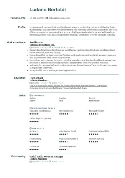 Sandblaster Resume Example