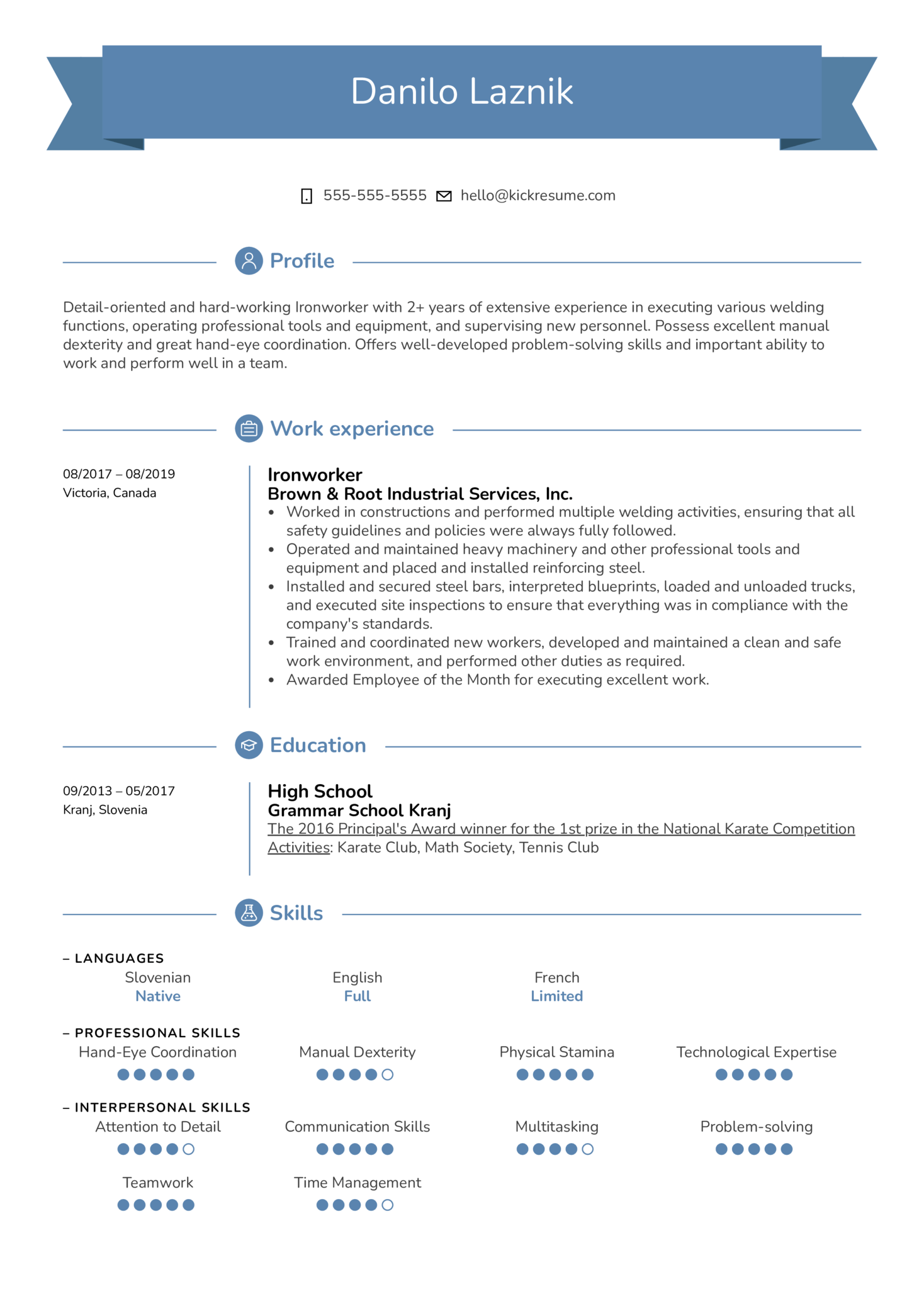 ironworker resume template