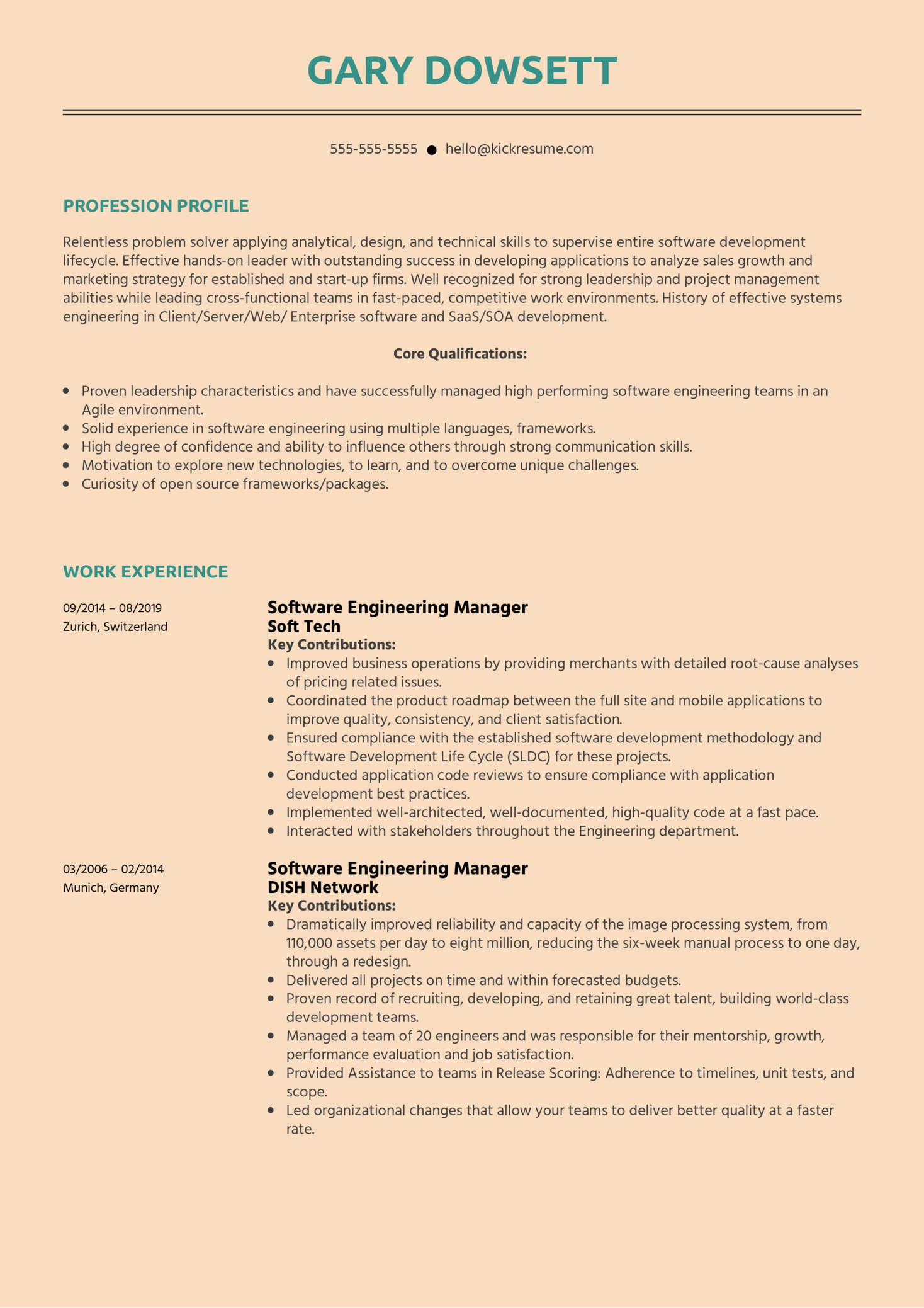Software Engineering Manager Resume Sample Kickresume
