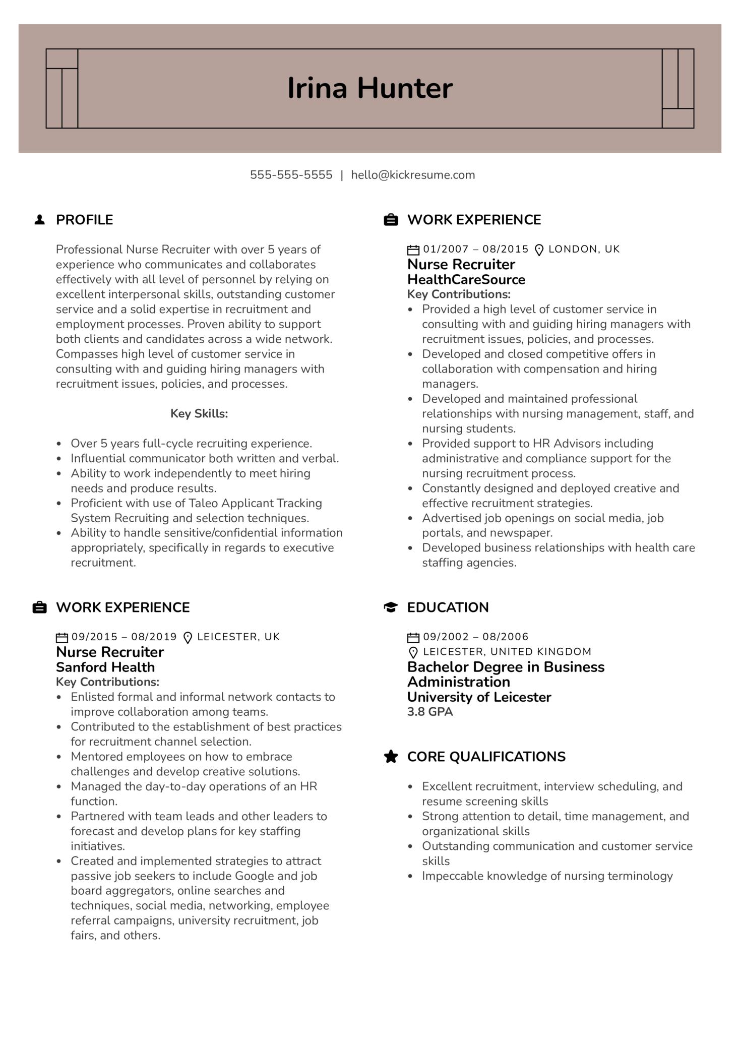 Nurse Recruiter Resume Example (parte 1)