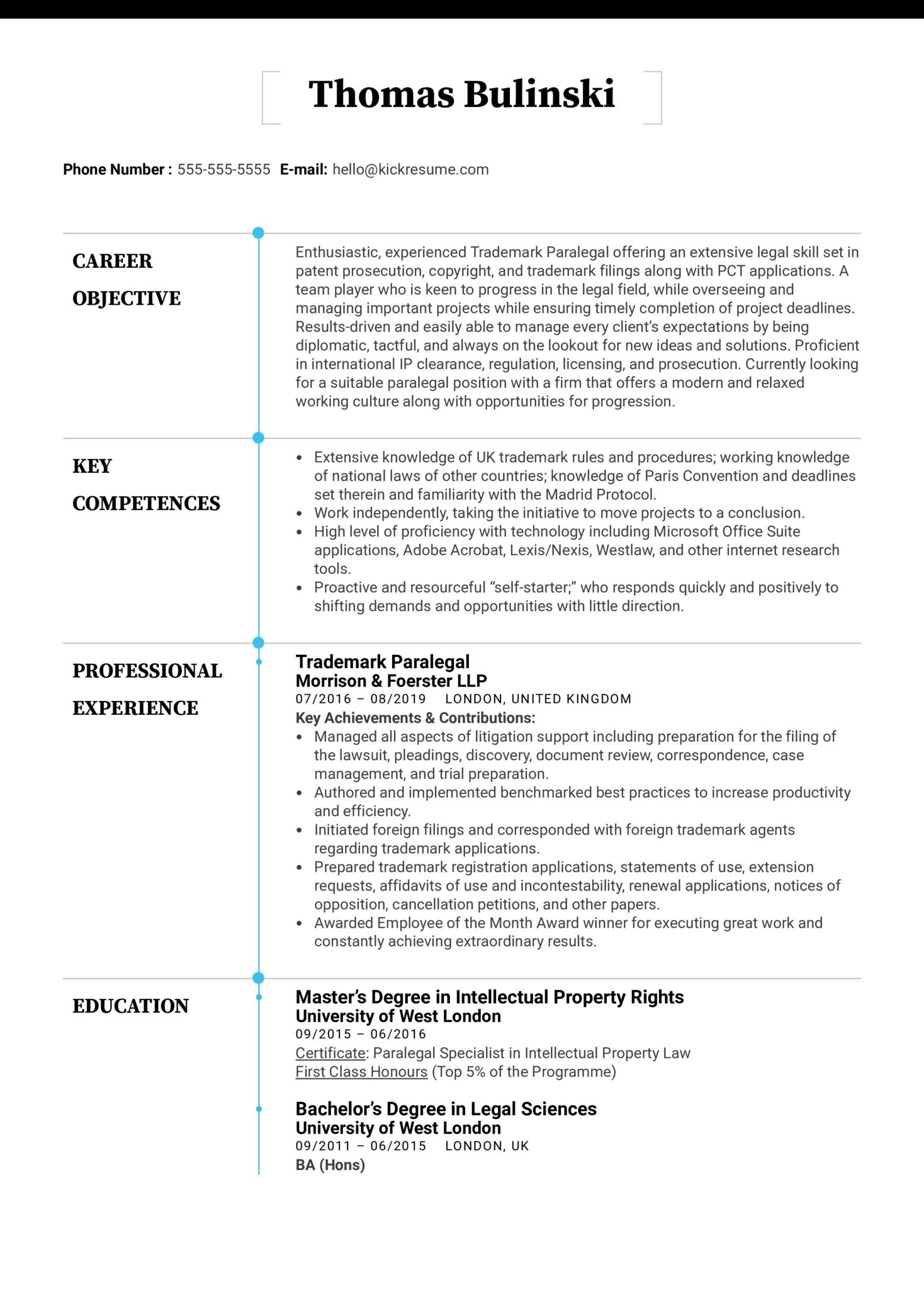 Trademark Paralegal Resume Sample (parte 1)
