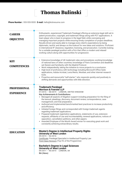 Trademark Paralegal Resume Sample