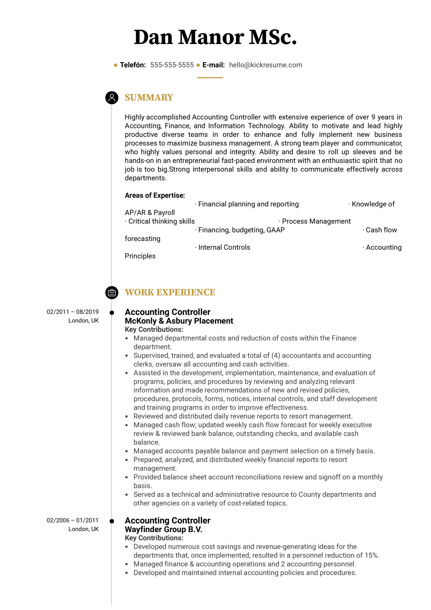 resume examples by real people  accounting controller