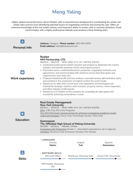 Realtor Resume Example