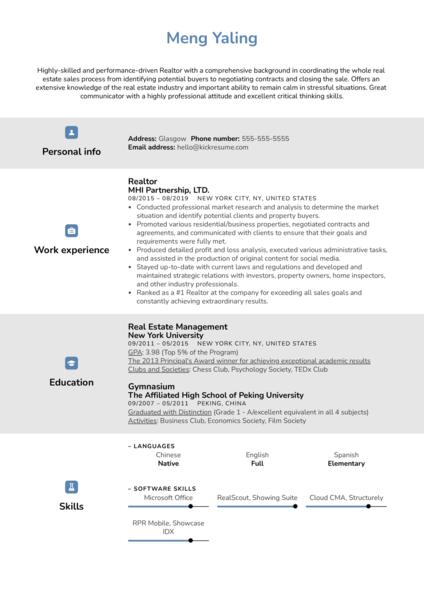 Realtor Resume Example