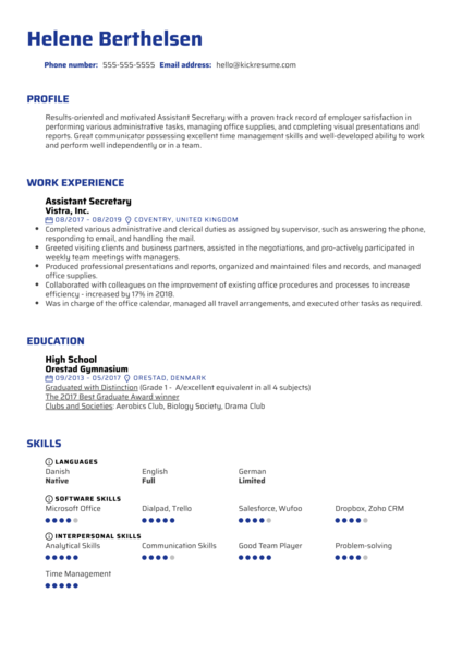 Assistant Secretary Resume Sample